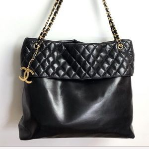Chanel Authentic 80s Quilted CC Logo XXL Tote Bag